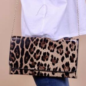 Accessories - Leopard Patent Clutch